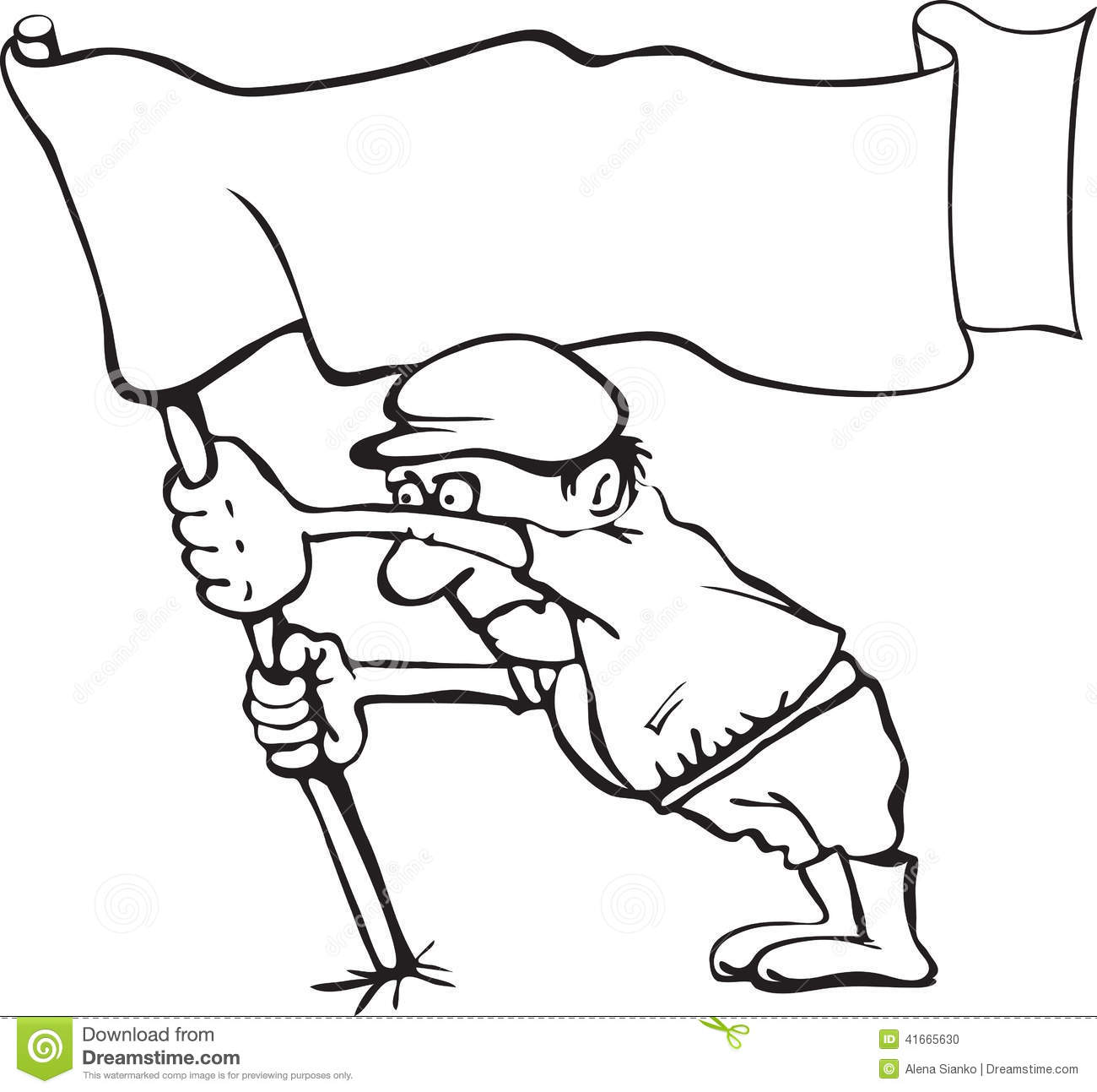Caricature Of A Man Holding A Flag In His Hands Stock