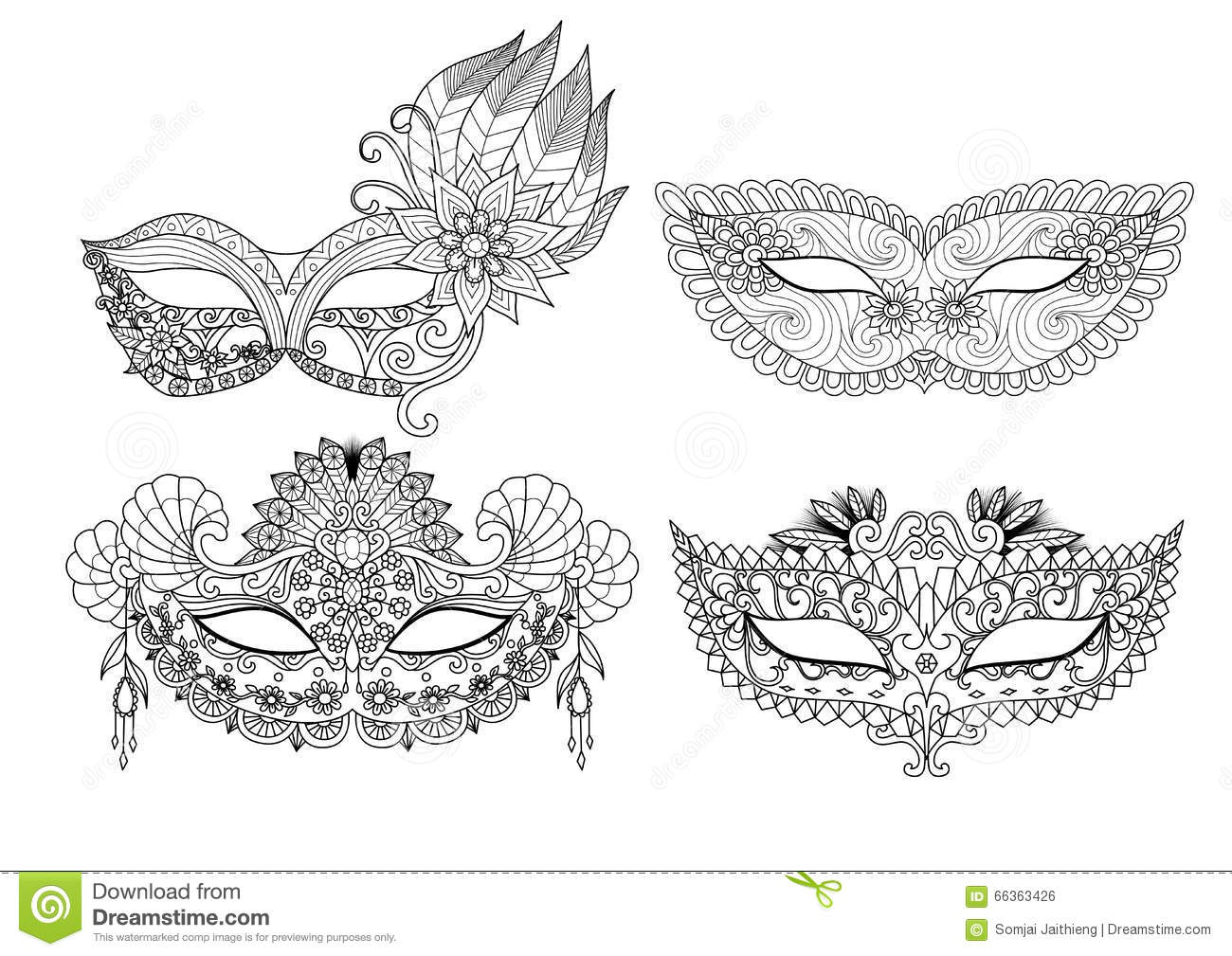 Carnival Mask Designs For Coloring Book For Adult Stock
