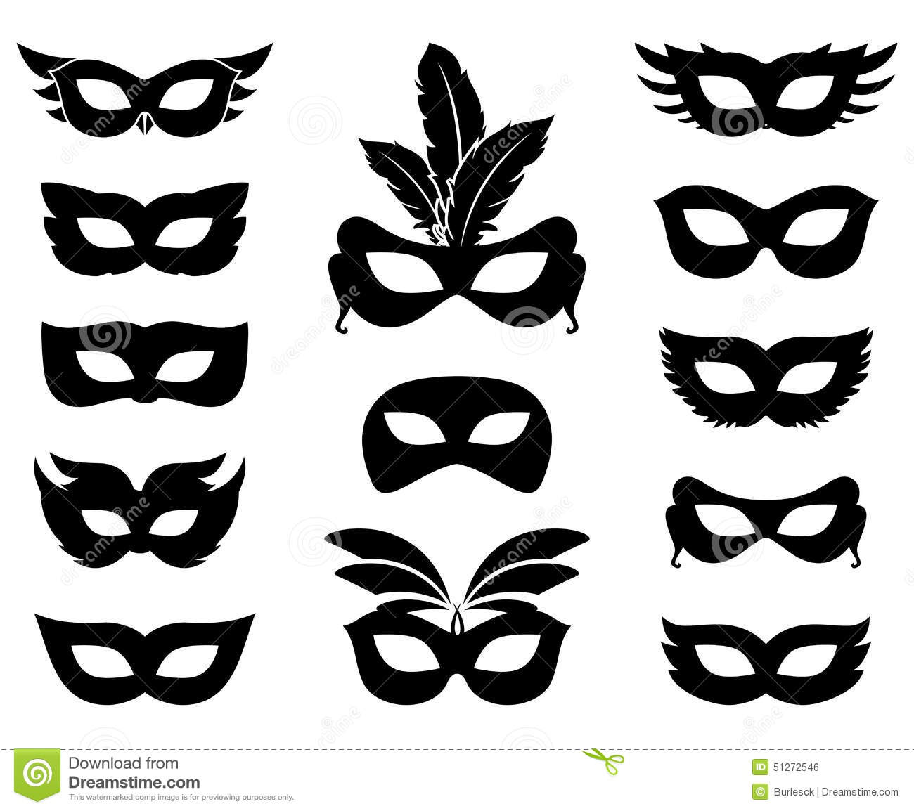 Carnival Mask Silhouettes Stock Vector Illustration Of