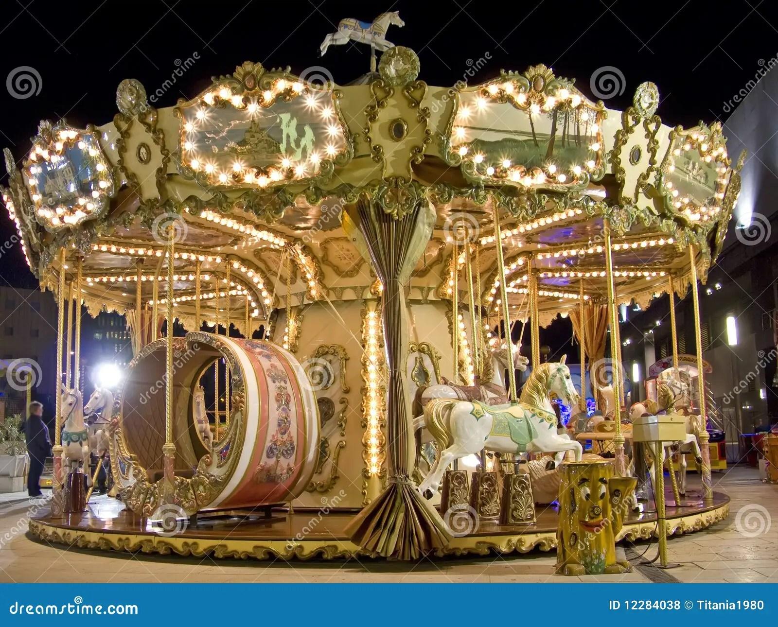Carousel At Night Royalty Free Stock Photos Image 12284038