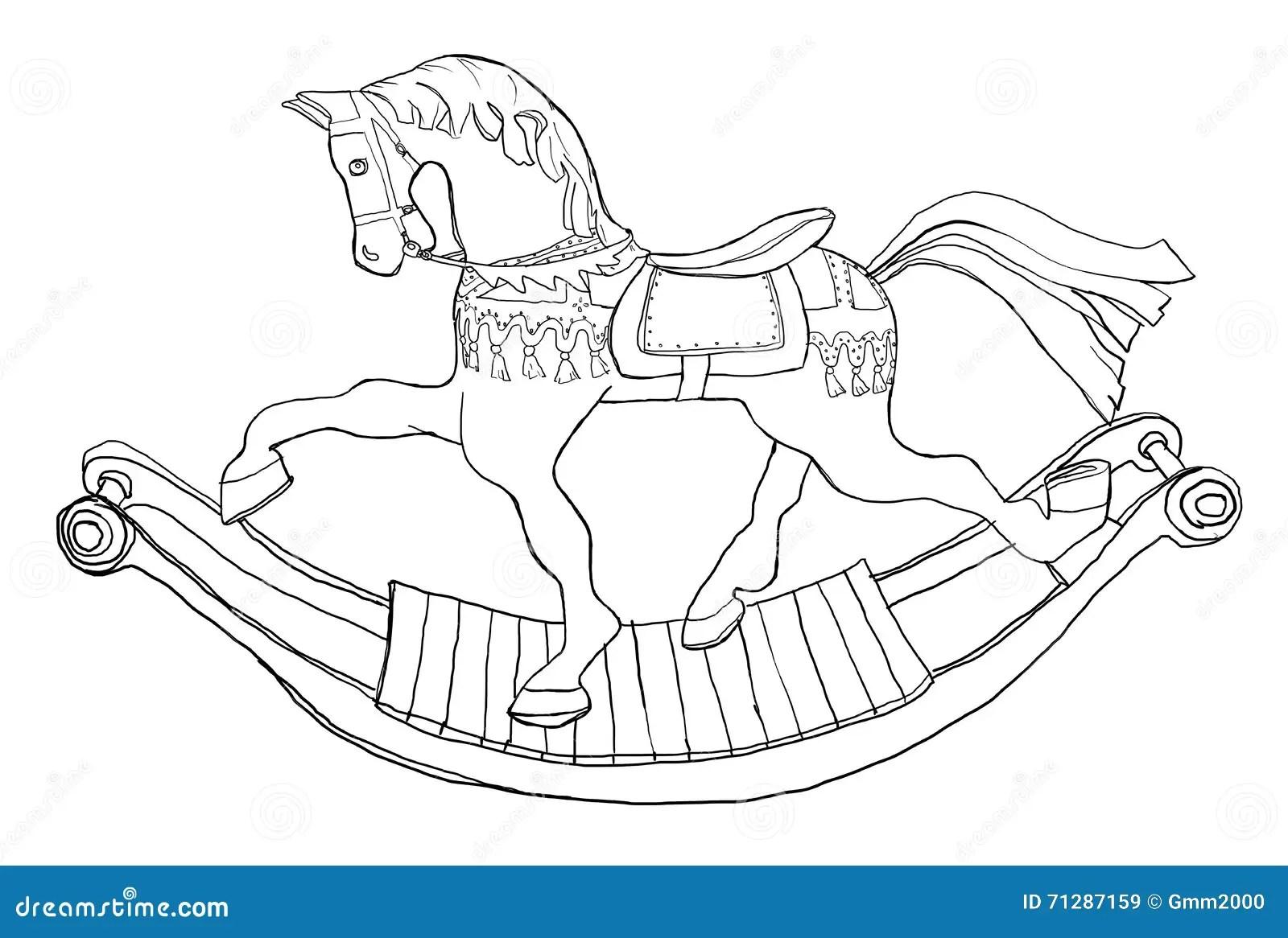 Carousel Rocking Horse Line Art Stock Illustration