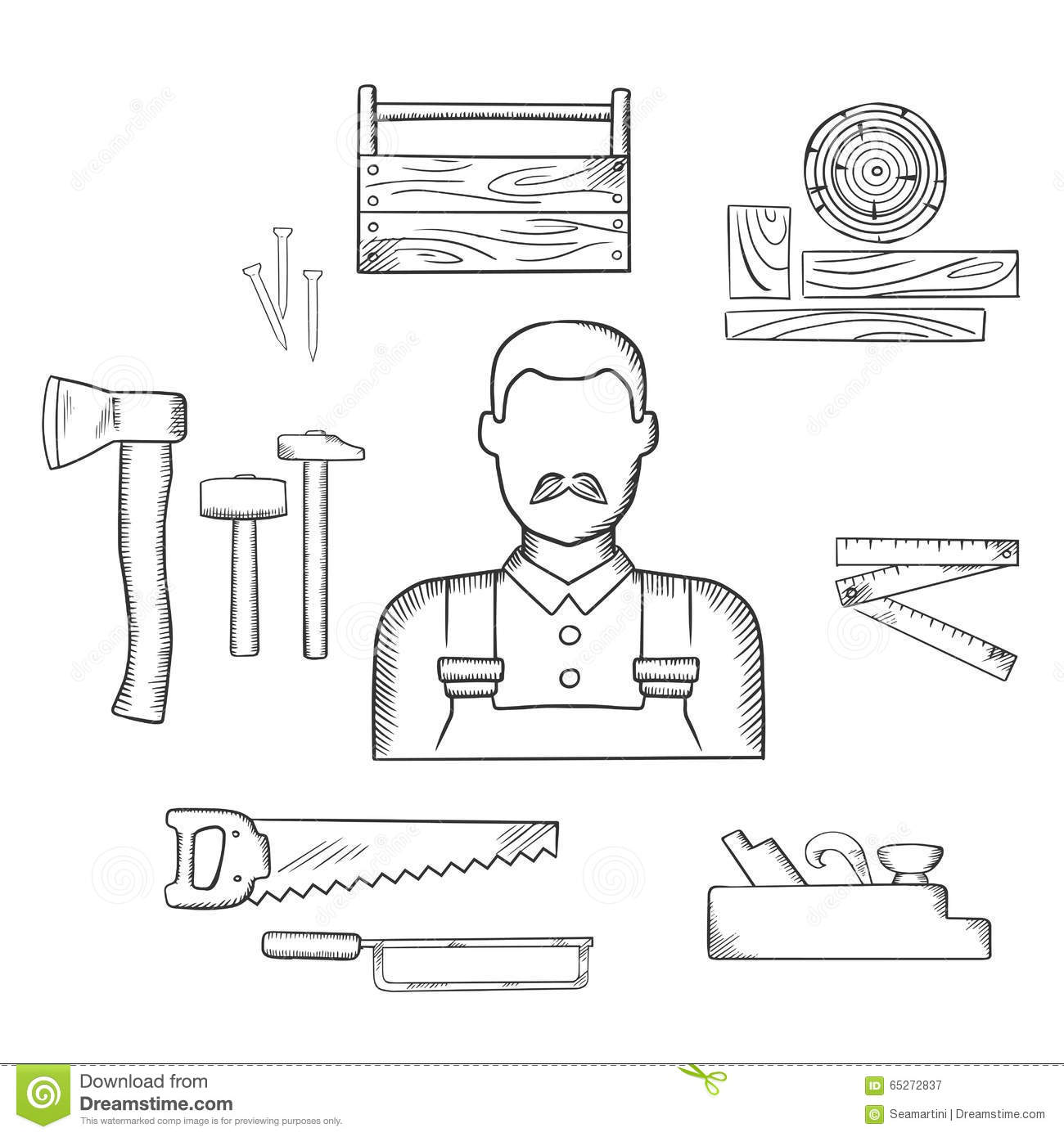 Carpenter With Timber And Tools Sketch Icons Stock Vector