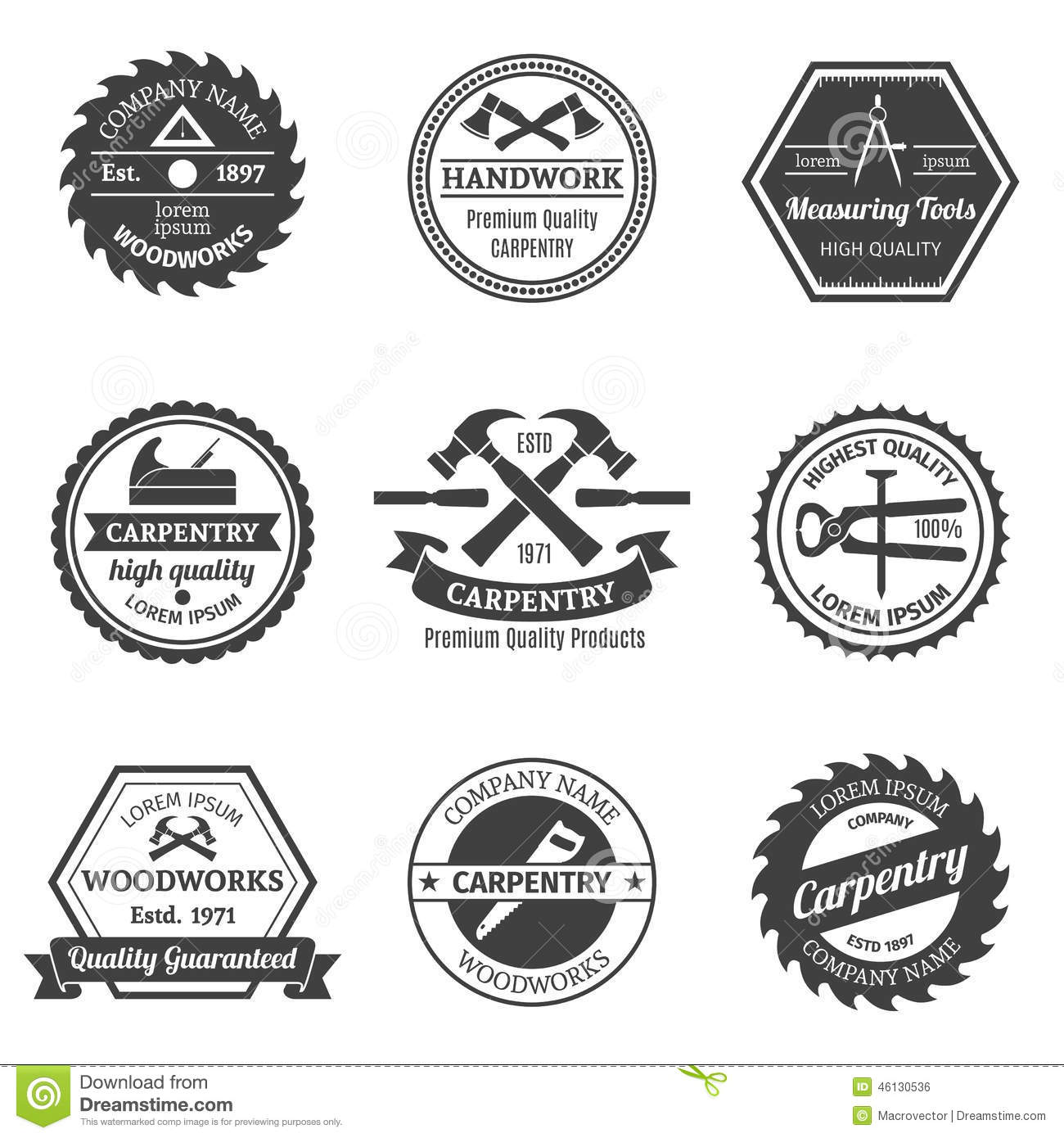 Carpentry Emblems Set Stock Vector Illustration Of Emblem