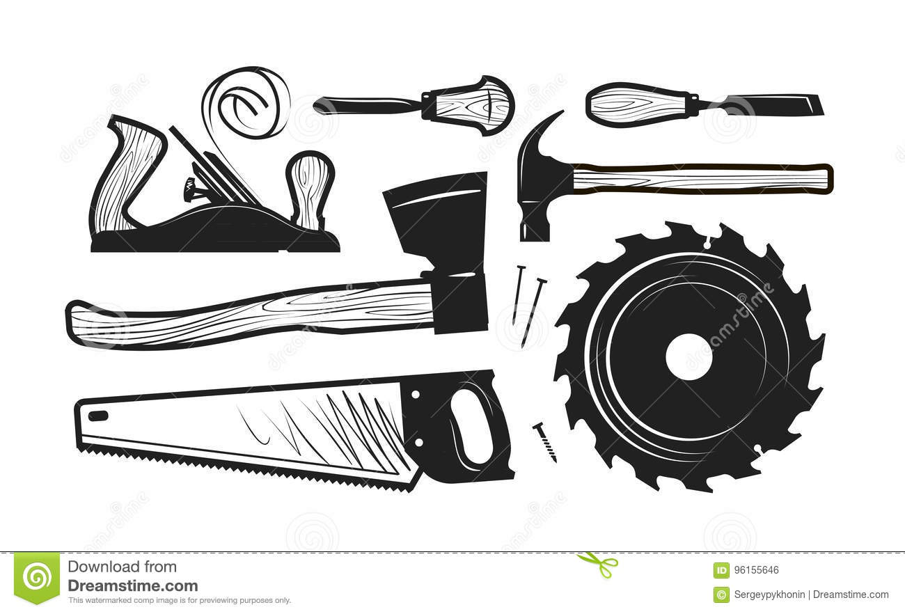 Carpentry, Joinery Icons. Set Of Tools Such As Axe