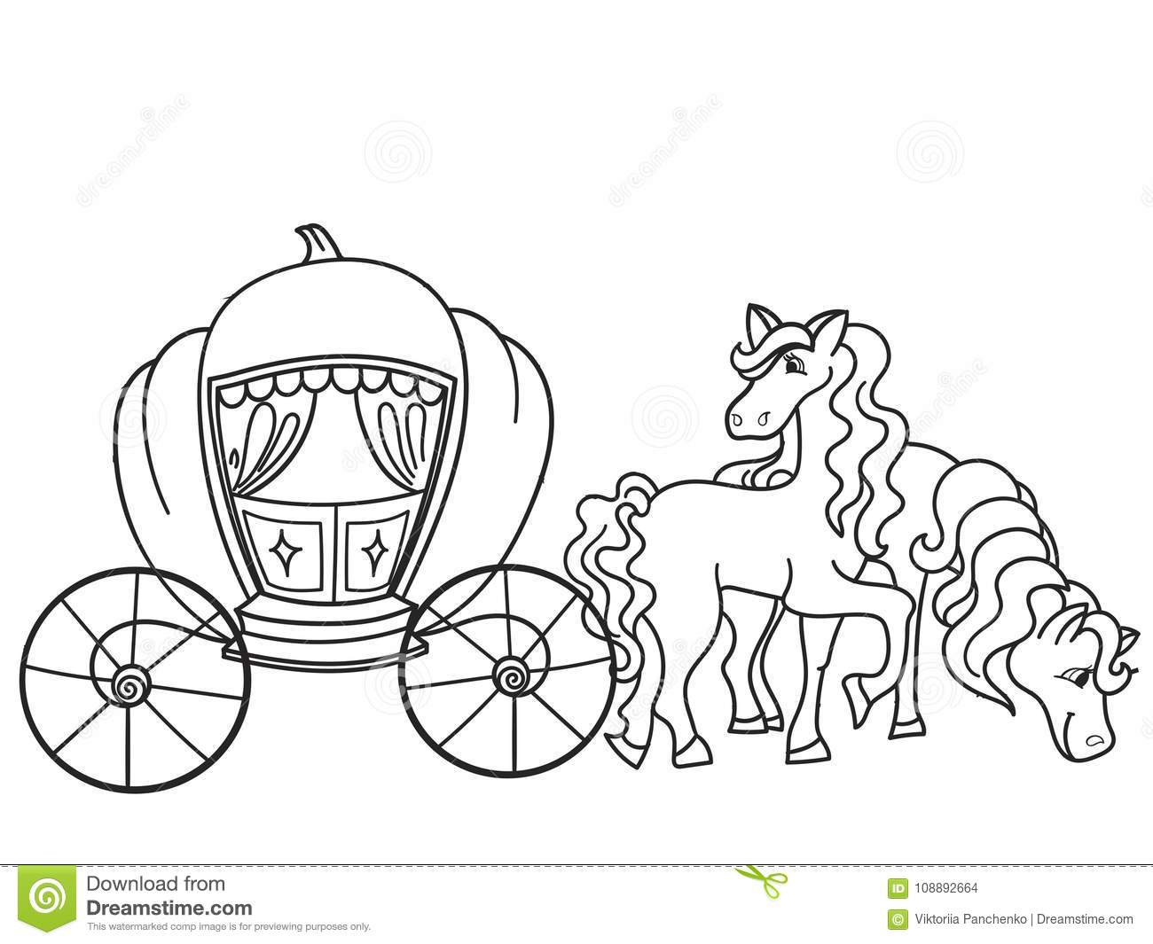 Carriage, Pumpkin And Horses. Transport For The King