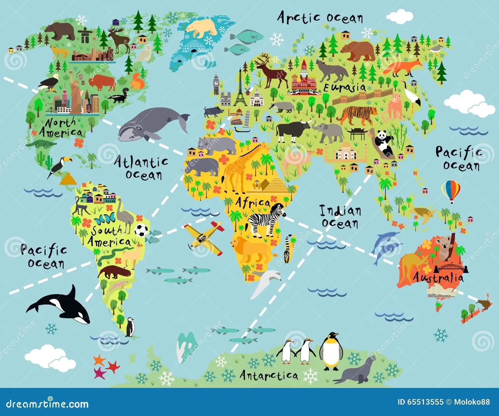 Carte Du Monde De Bande Dessinee Illustration De Vecteur