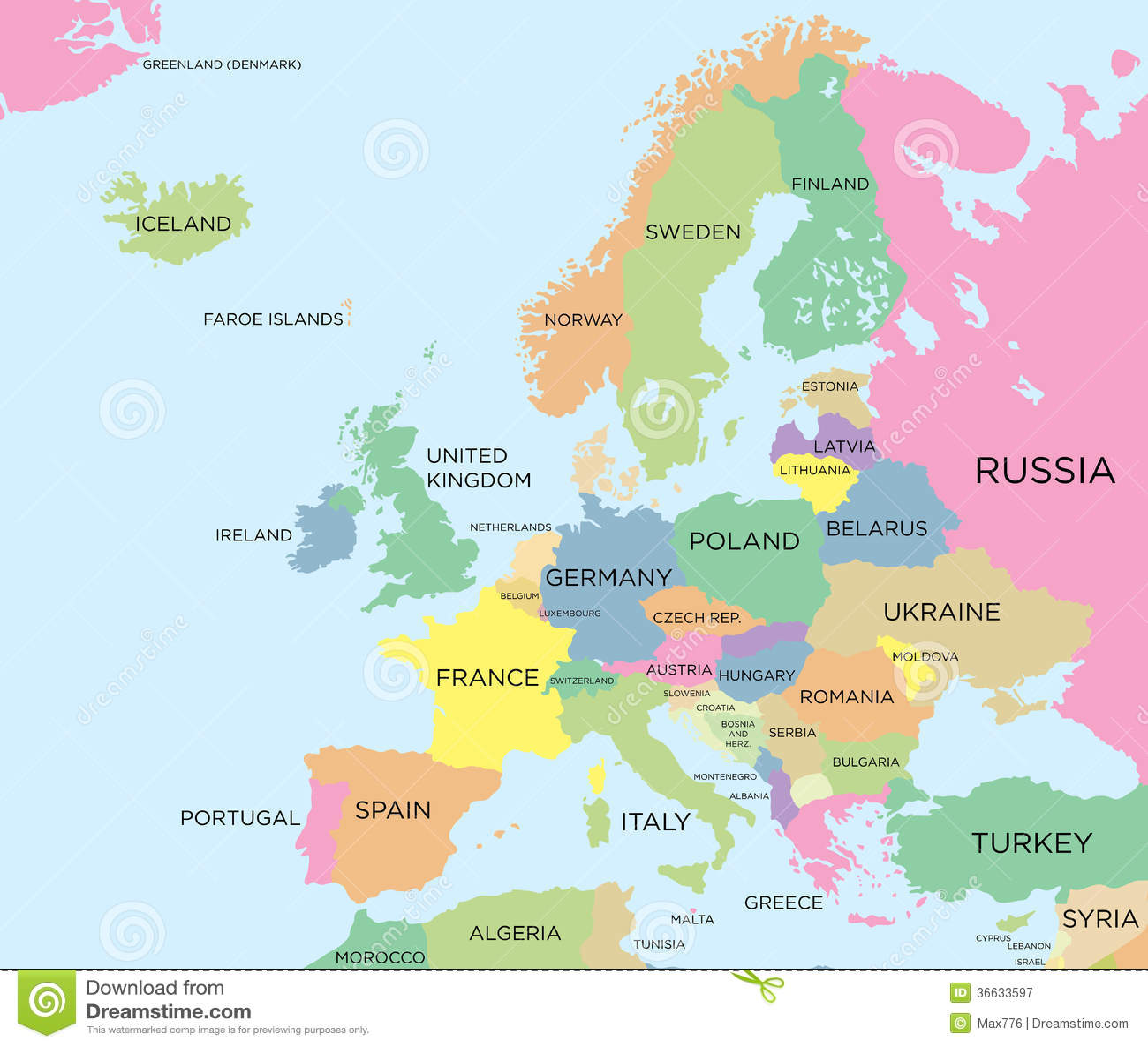 Carte Politique Coloree De L Europe Photographie Stock