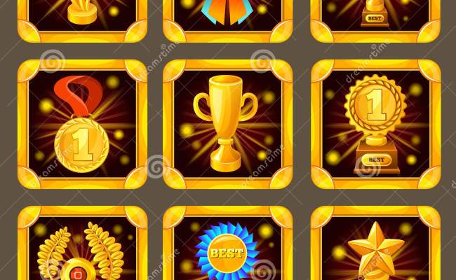 Cartoon Achievement Game Screen Icon Set Stock Vector