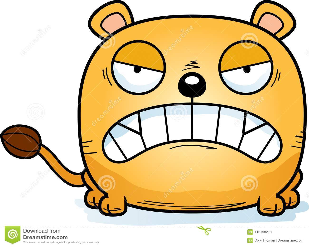 hight resolution of a cartoon illustration of a lioness cub with an angry expression