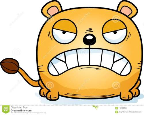 small resolution of a cartoon illustration of a lioness cub with an angry expression