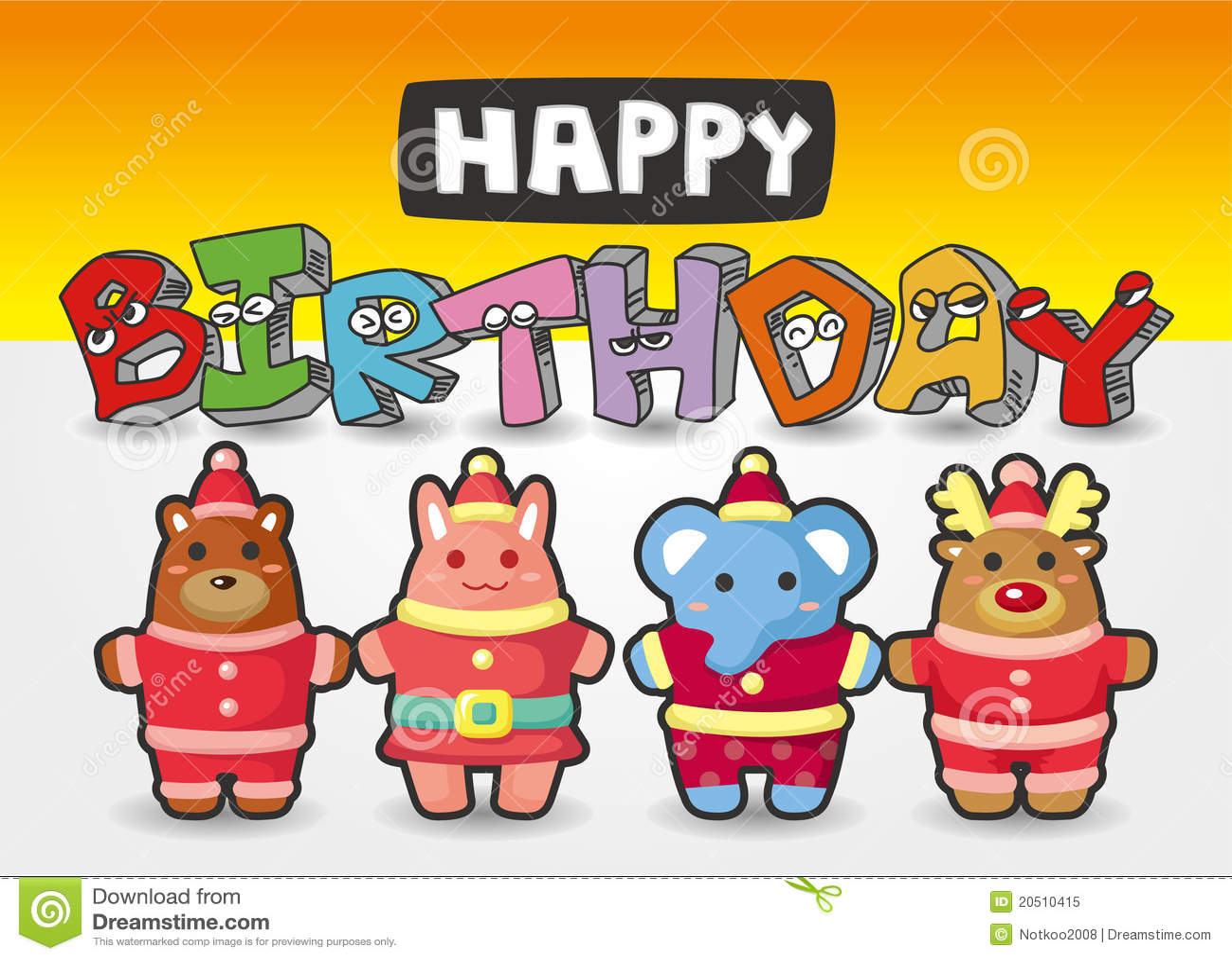 Cartoon Animal Birthday Card Royalty Free Stock Photo
