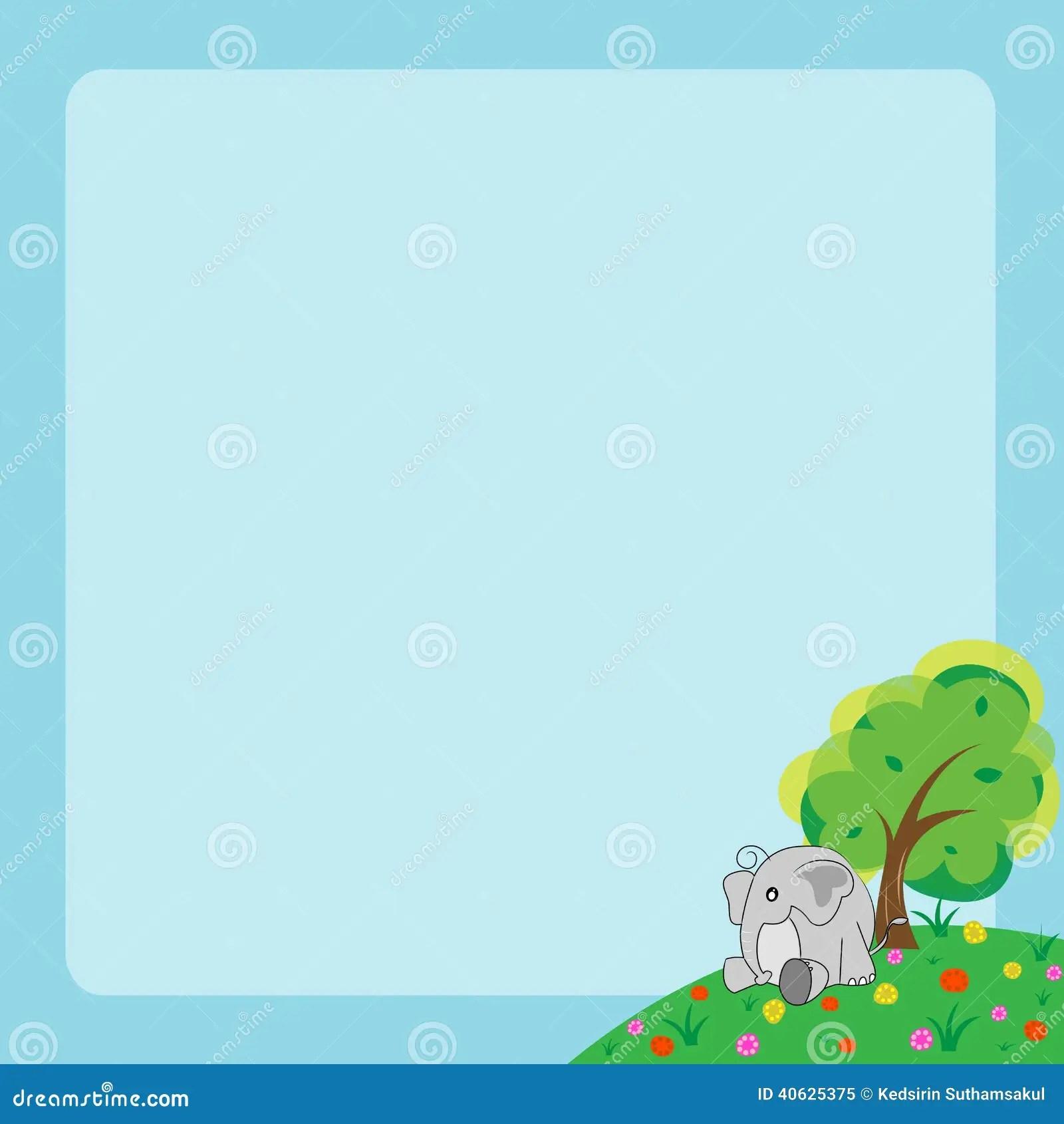 Cute Elephant Design Wallpaper Cartoon Animal Frame Stock Vector Illustration Of