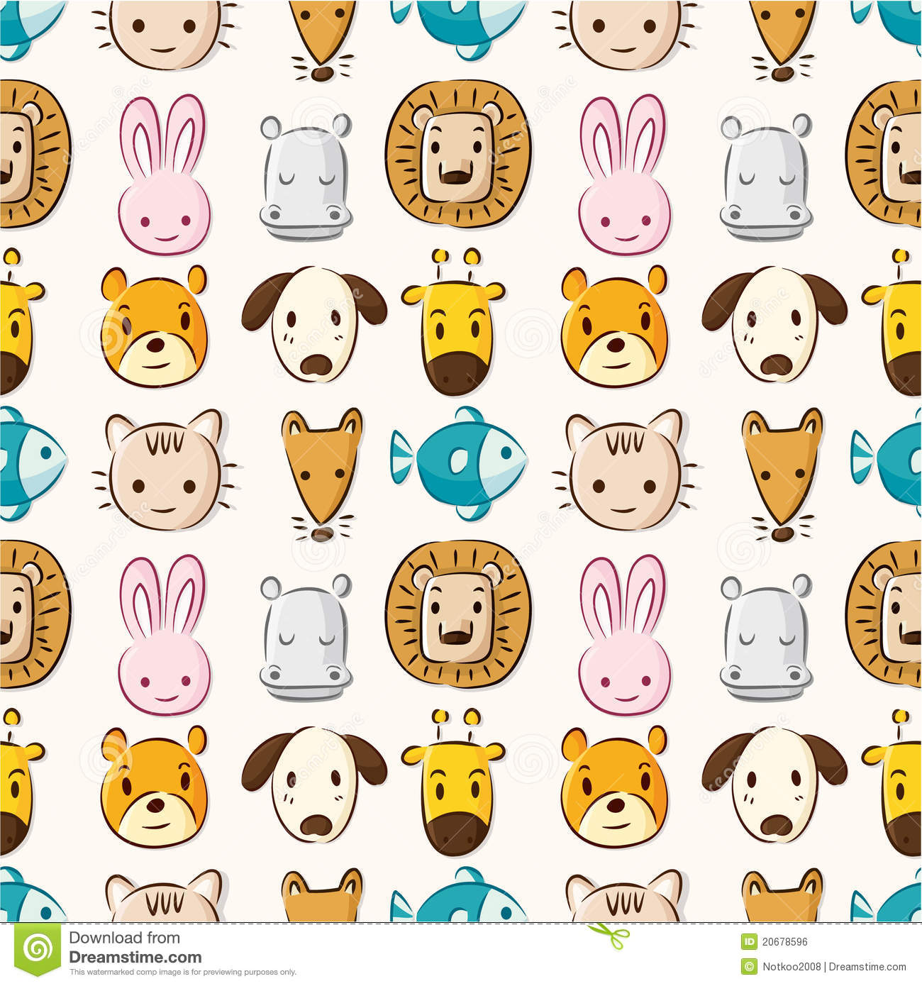 Cute Dog Doodle Wallpaper Cartoon Animal Head Seamless Pattern Royalty Free Stock