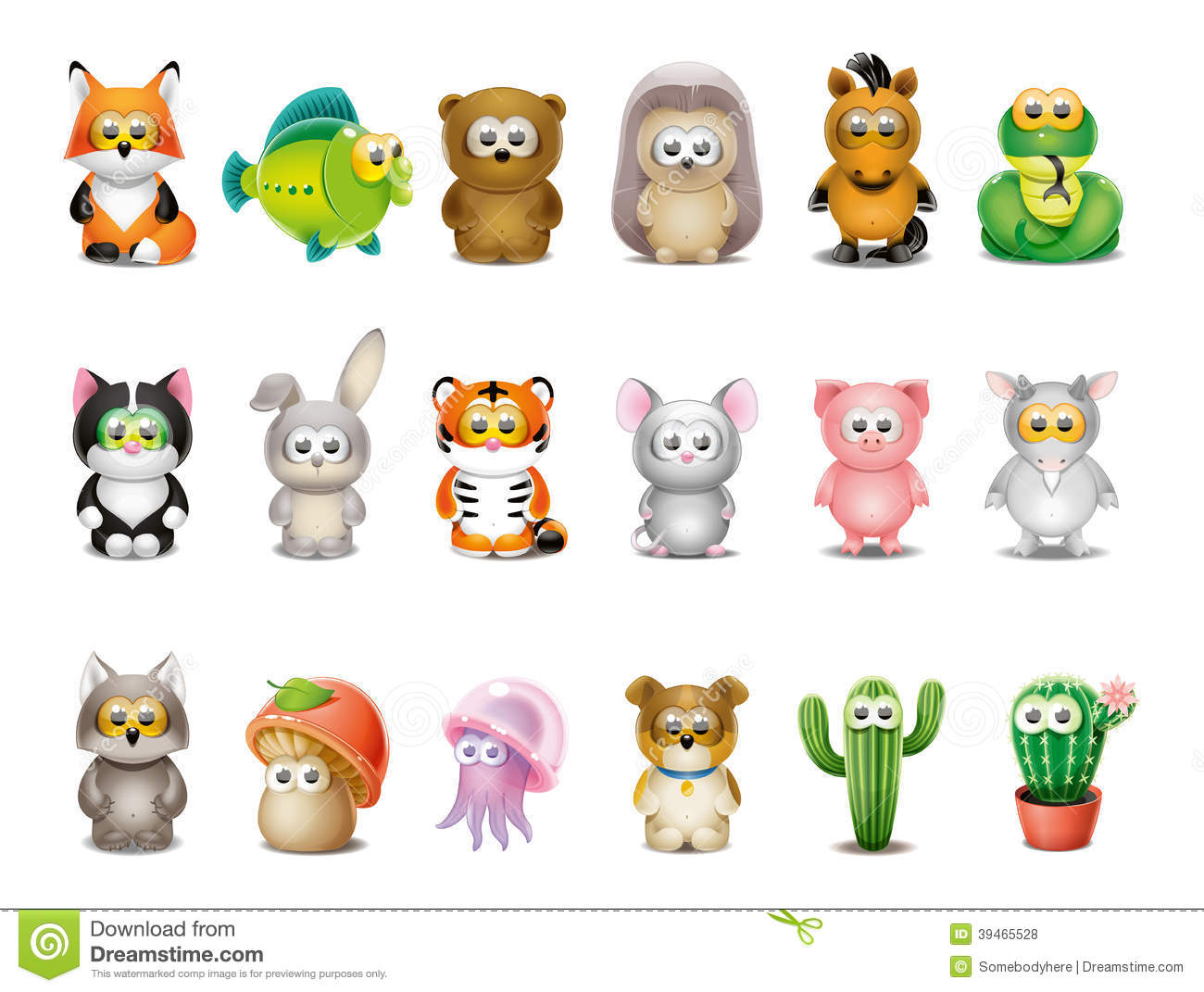 cartoon animals set stock