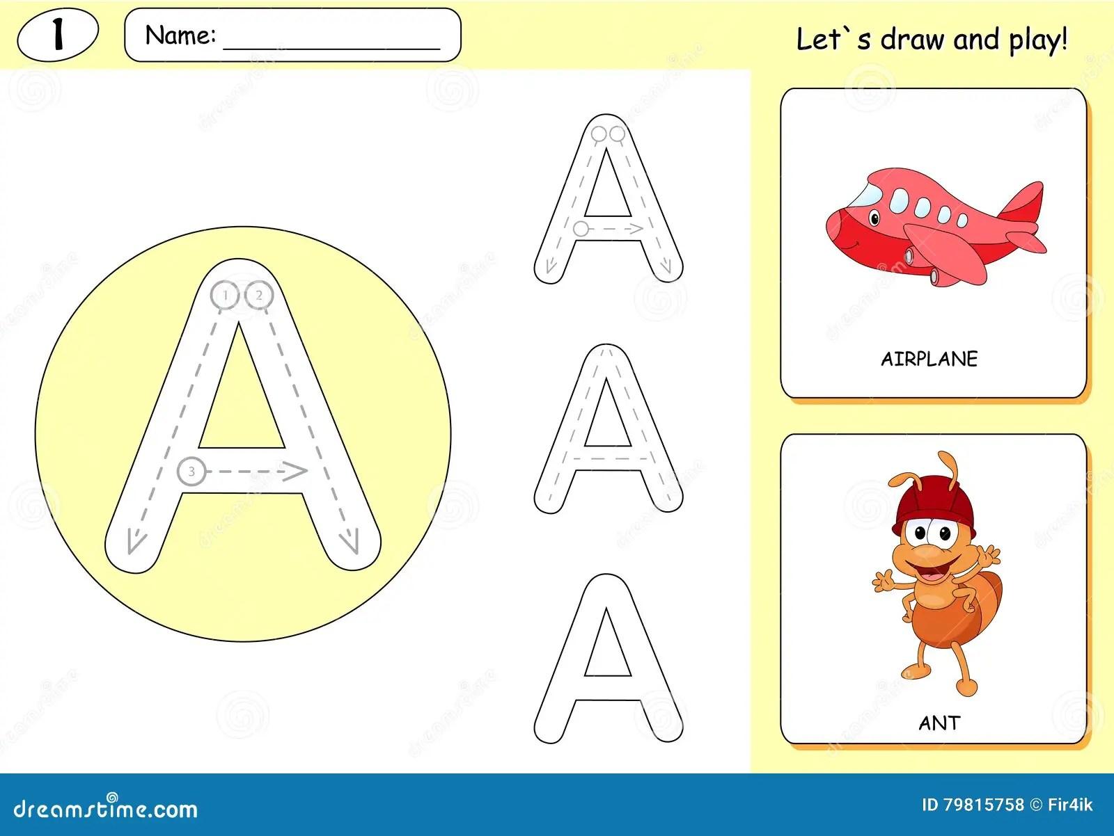 Cartoon Ant And Aircraft Alphabet Tracing Worksheet Stock