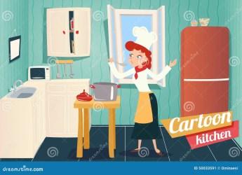 kitchen room cartoon interior background illustration apartment vector
