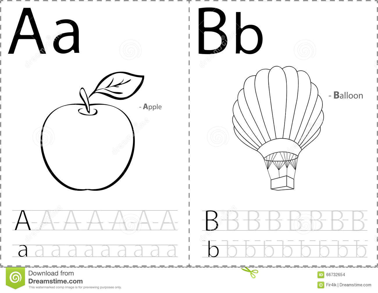 Cartoon Apple And Balloon. Alphabet Tracing Worksheet