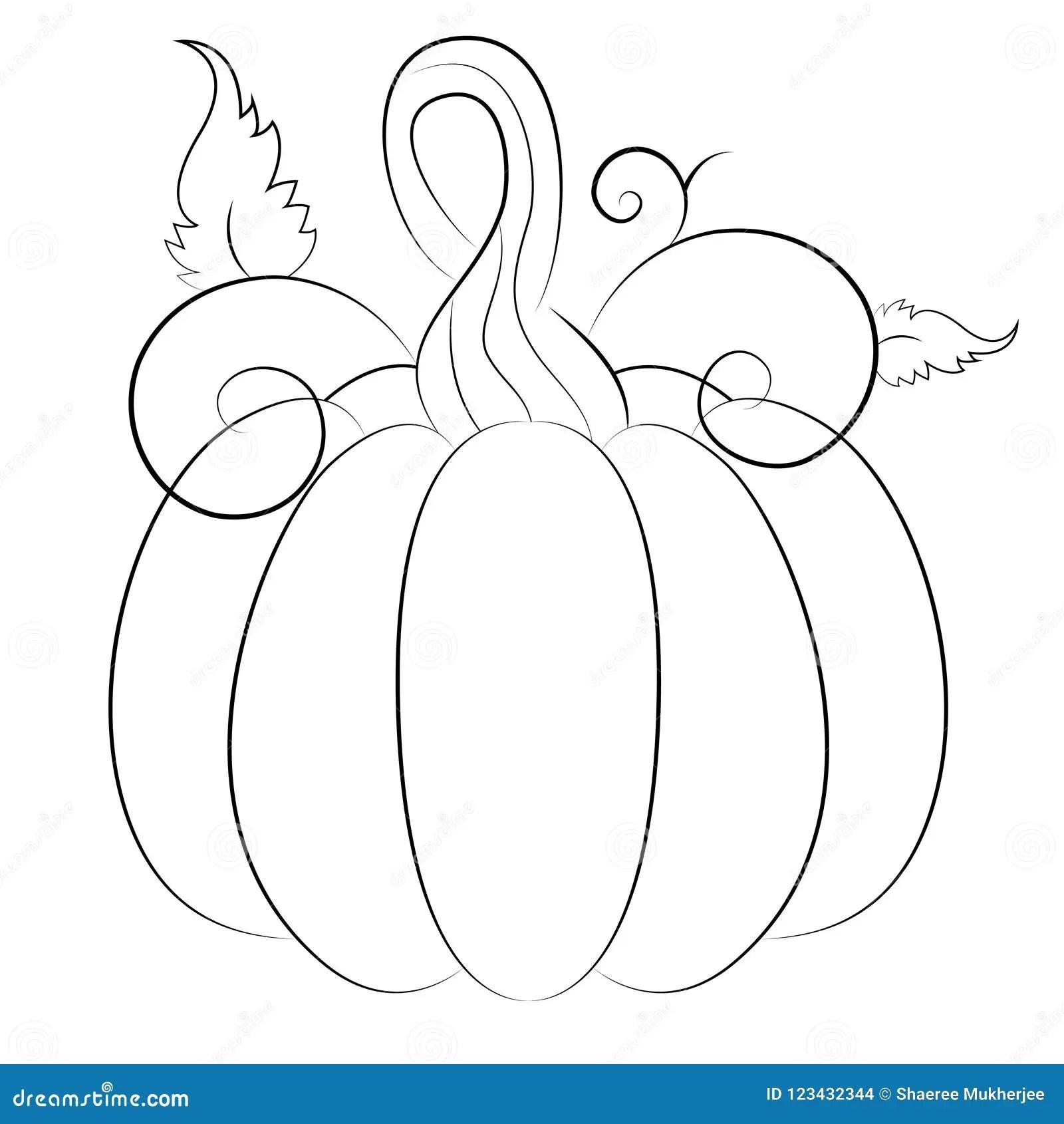 Cartoon Autumn Pumpkin Coloring Page Stock Vector