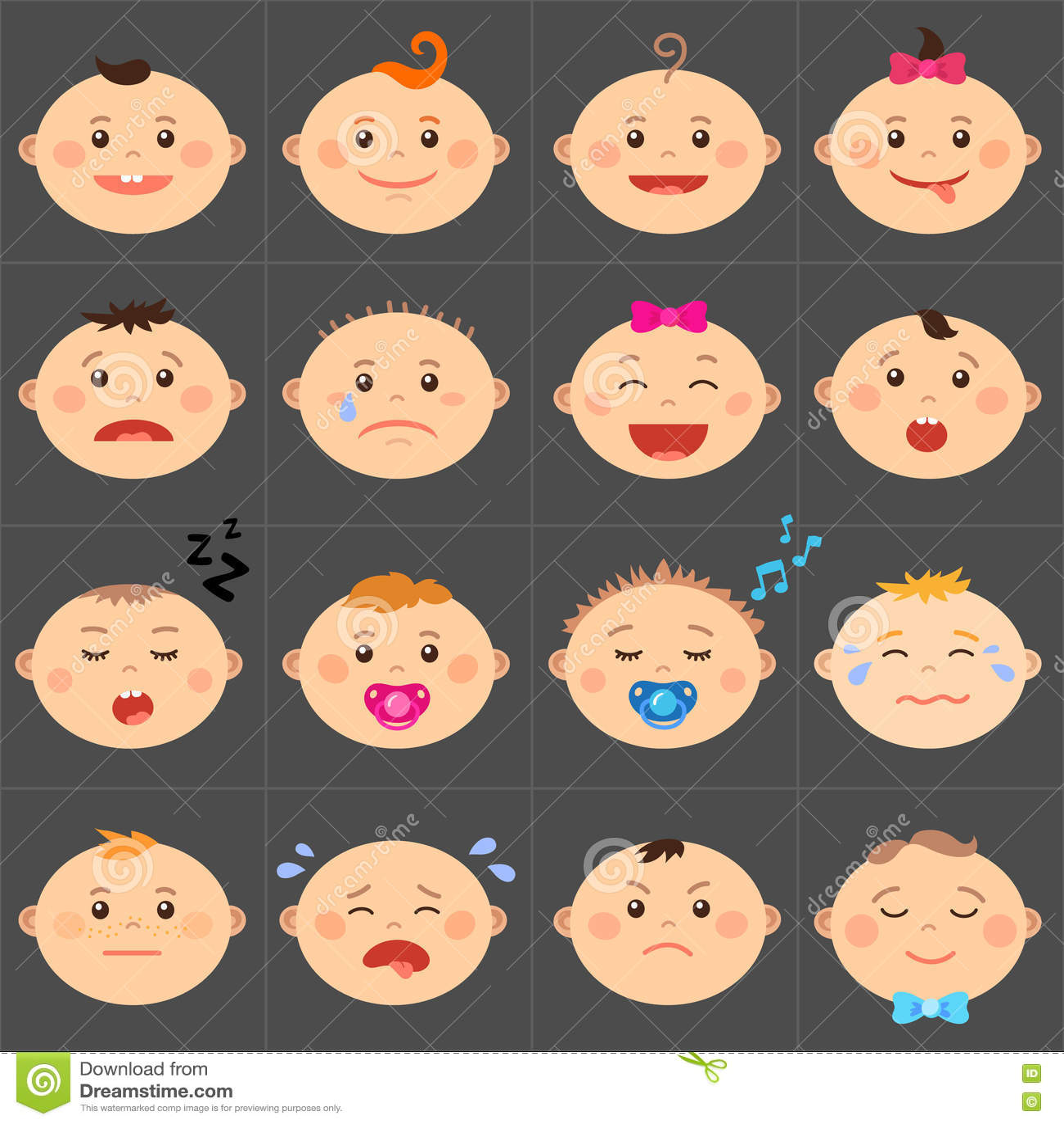 cartoon baby emoticons stock