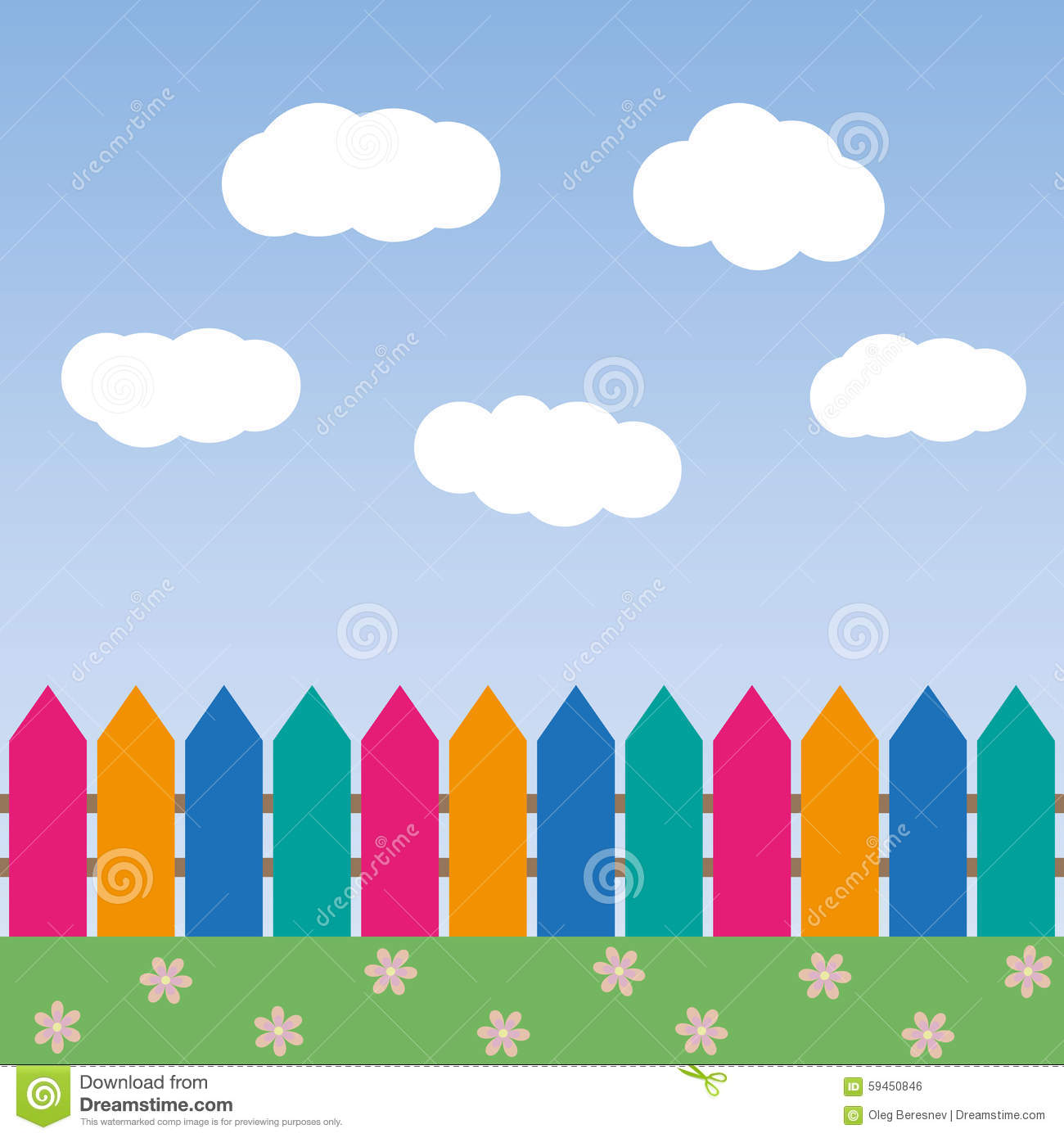 Baby Girl Nursery Pink Wallpaper Cartoon Background With Color Fence And Clouds Stock
