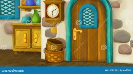 interior cartoon kitchen fairy background tale fashioned scene funny illustration preview
