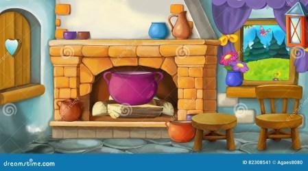 cartoon kitchen interior background fairy fashioned tale illustration scene funny children preview