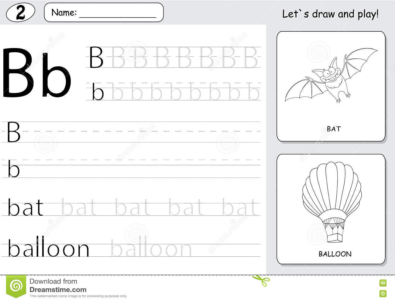Cartoon Bat And Balloon Alphabet Tracing Worksheet Writing A Z And Educational Game For Kids