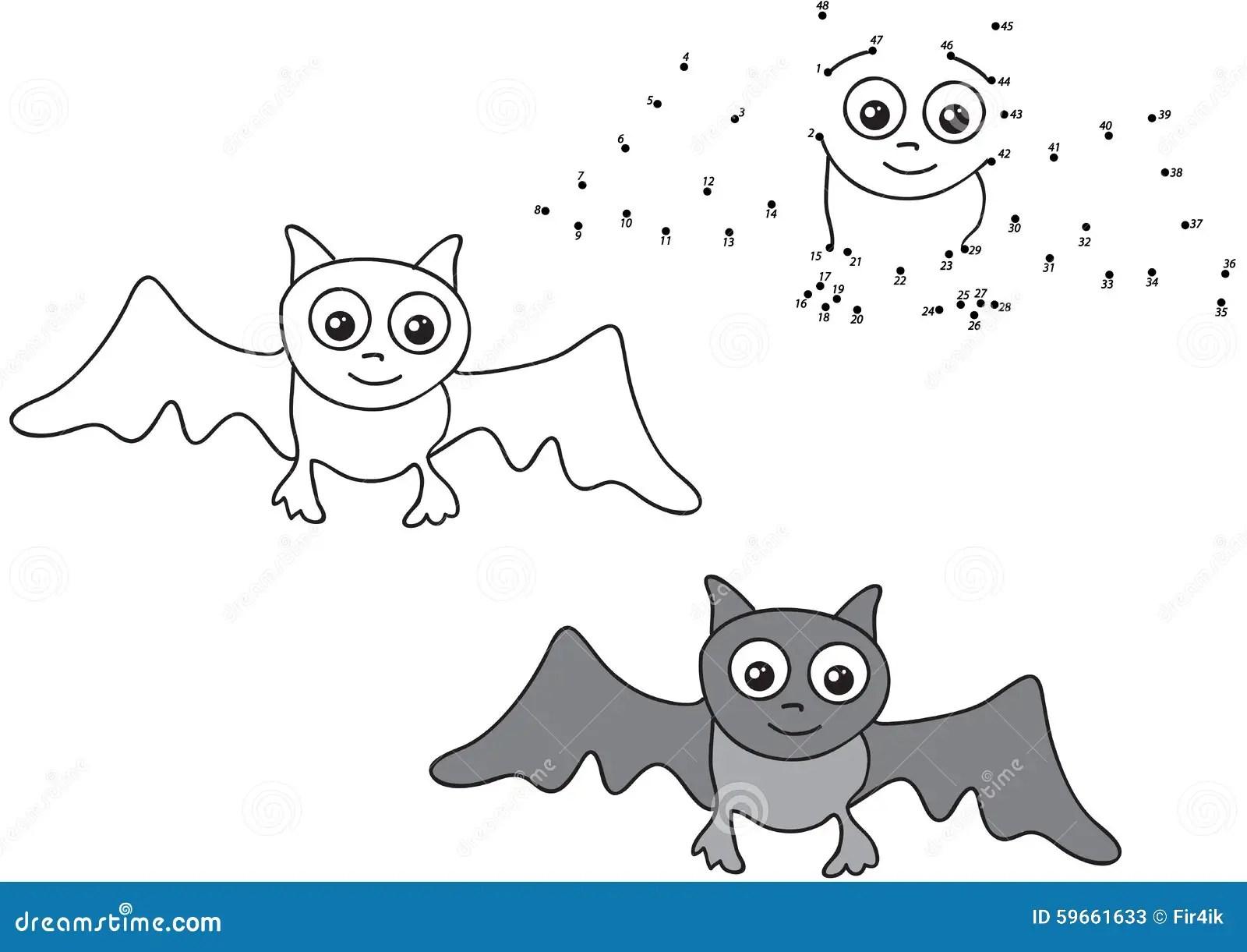 Cartoon Bat Vector Illustration Coloring And Dot To Dot