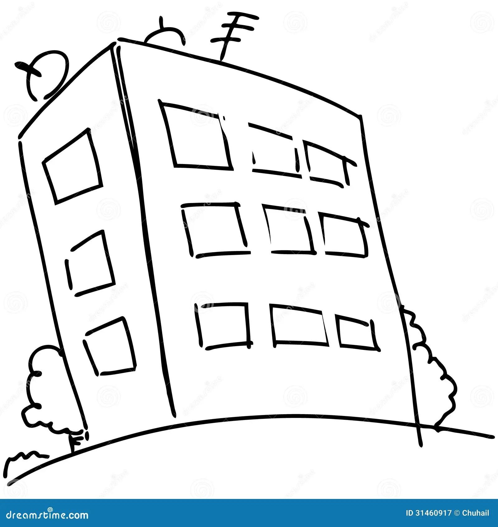 Cartoon block of flats stock vector. Illustration of