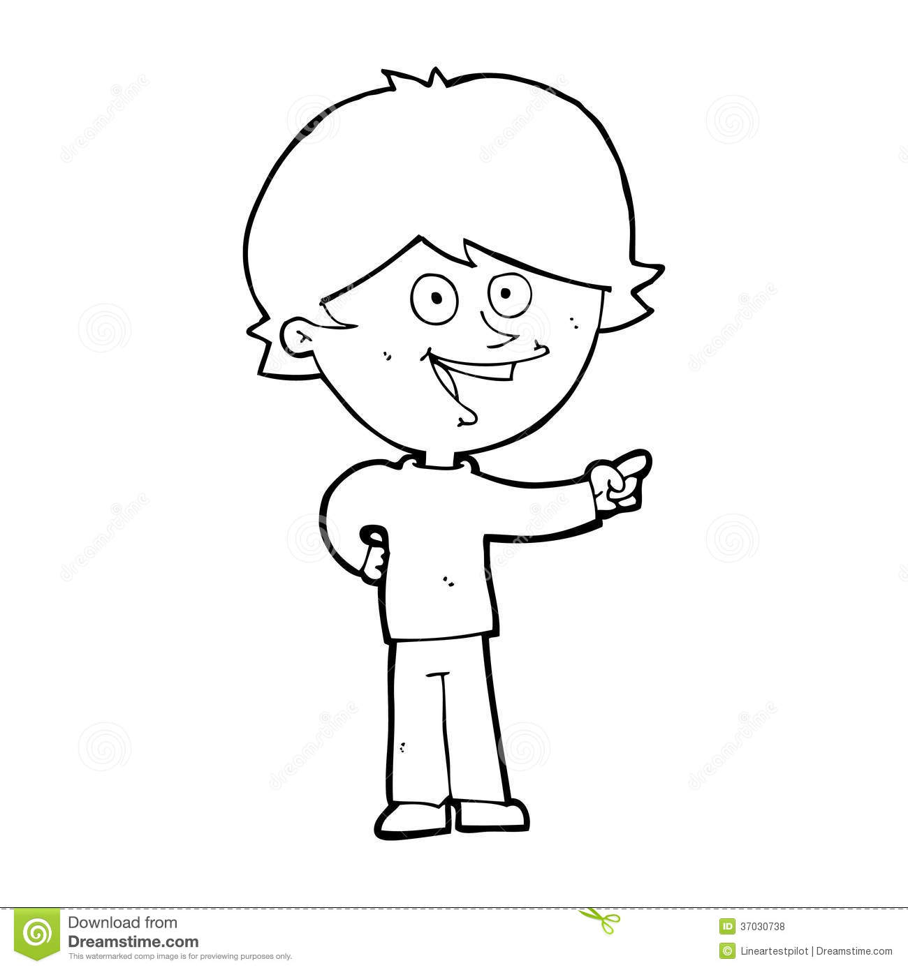 Cartoon Boy Laughing And Pointing Stock Illustration