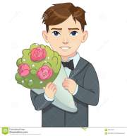 cartoon boy in suit holding bouquet