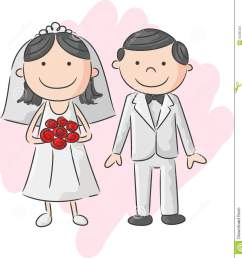 cartoon bride and groom [ 1321 x 1300 Pixel ]