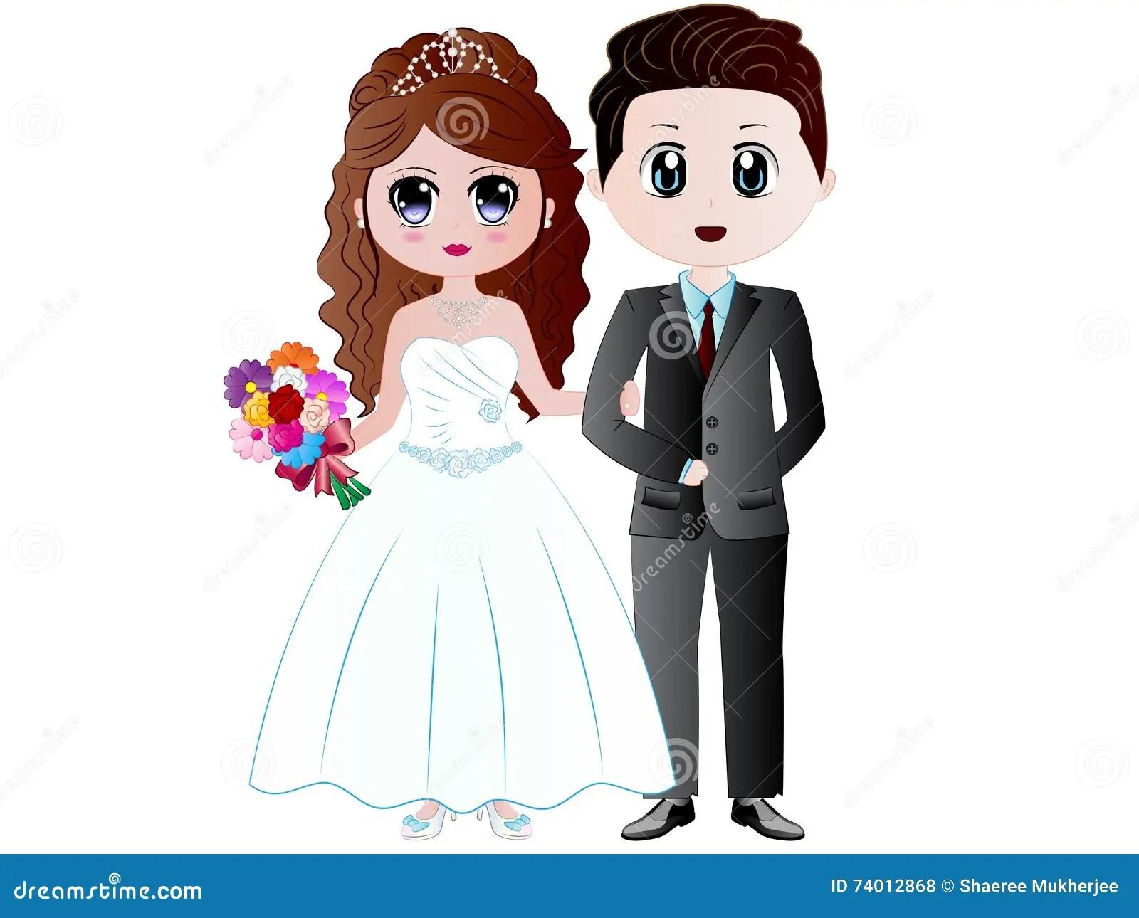 hight resolution of cartoon bride groom vector illustration