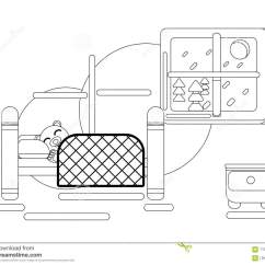 Brown Bear Diagram 22re Injector Wiring Cartoon Sleeping In His Bed At Home Stock Vector Hibernation Coloring Page Flat Animal Illustration
