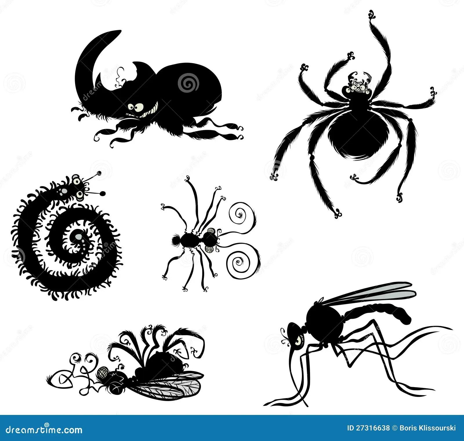 Cartoon Bugs Silhouettes. Royalty Free Stock Photos
