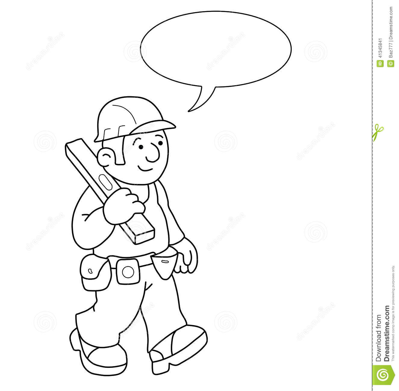 Cartoon Of Labourer Using A Pick Axe Vector Illustration