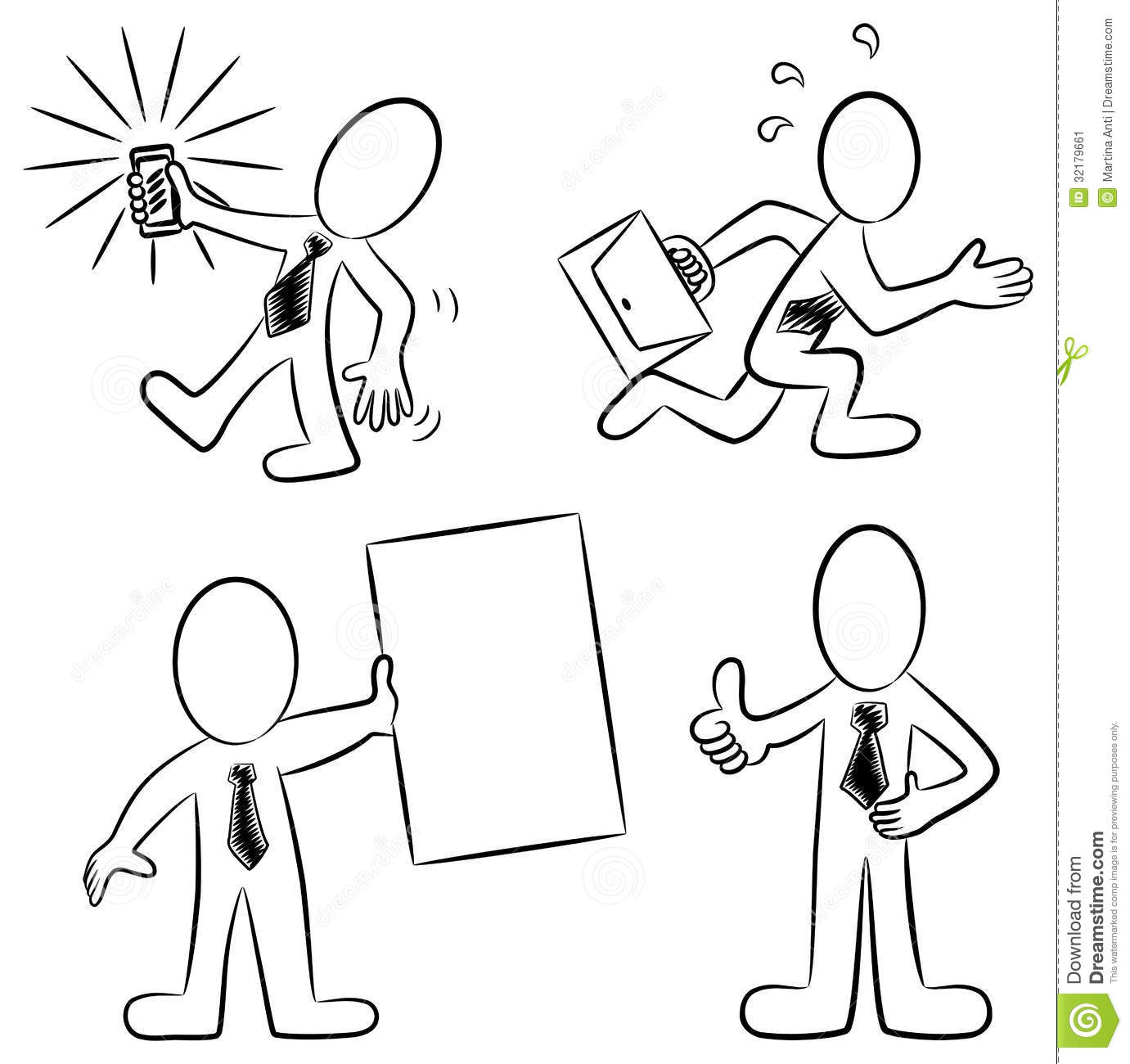 Cartoon Business People Black And White Stock Vector