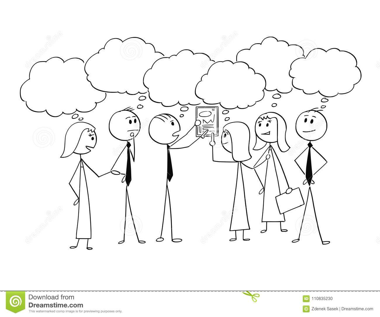 Cartoon Of Business Team Working Together To Find Problem