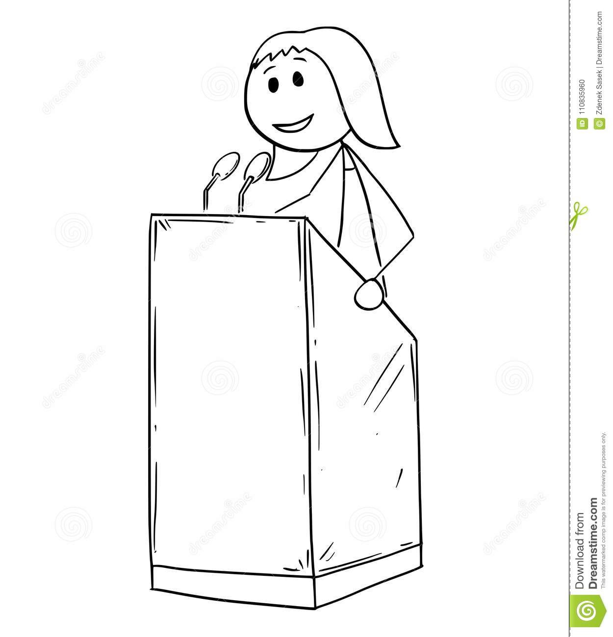 Cartoon Of Businessman Conference Woman Speaker Or Orator