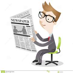 Folding Chair Gif Guy Rollator Transport Cartoon Businessman Sitting Office Reading Newspaper