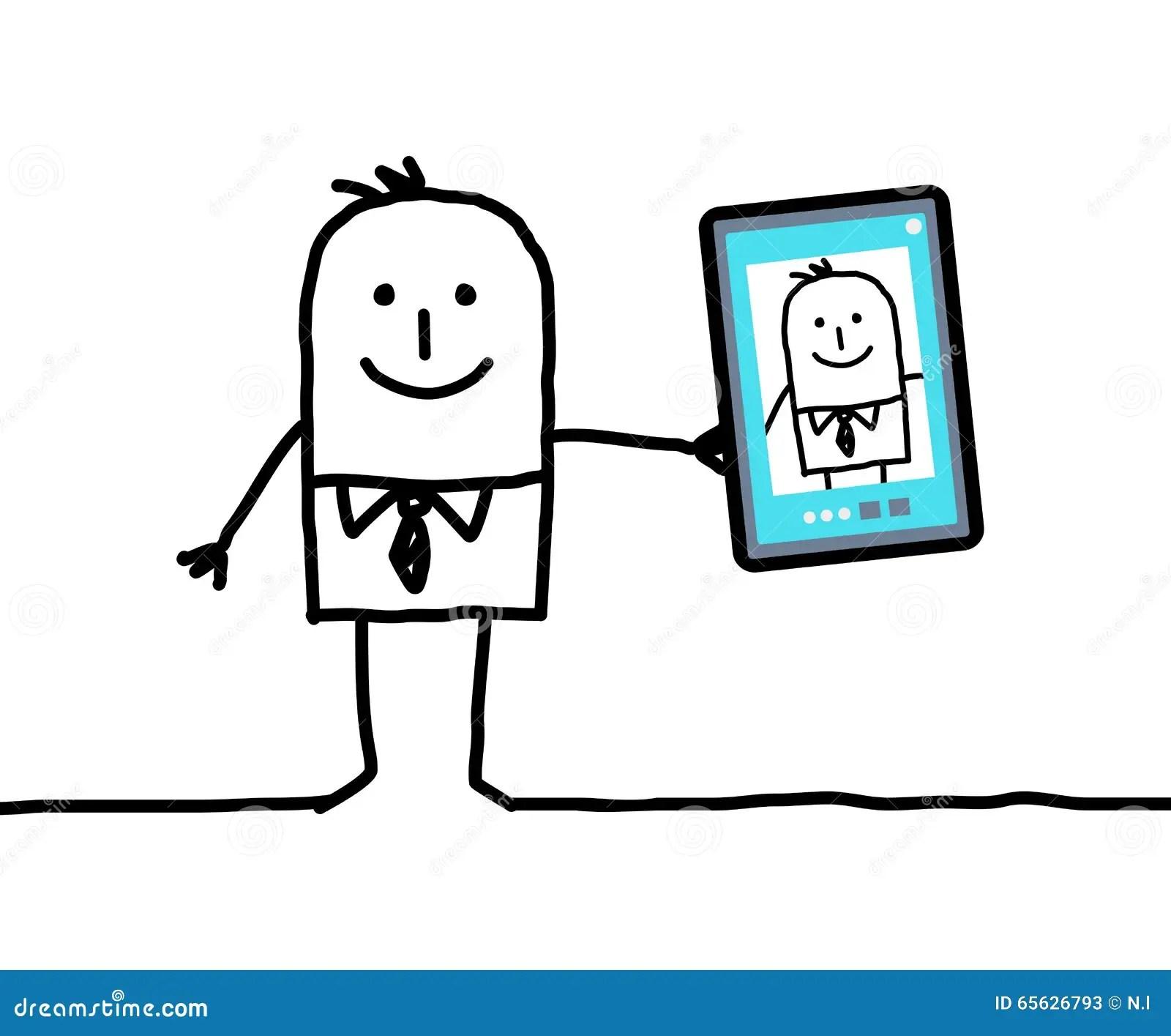 Cartoon Businessman Greedy With Money Eyes Stock Image