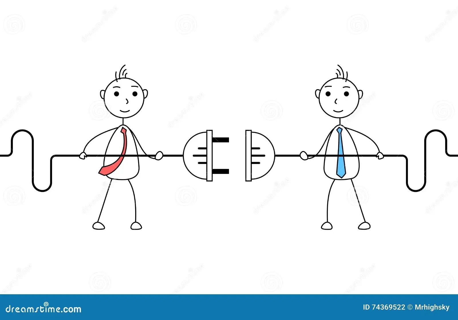 Cartoon Businessmen Connecting Electric Plug Stock Vector