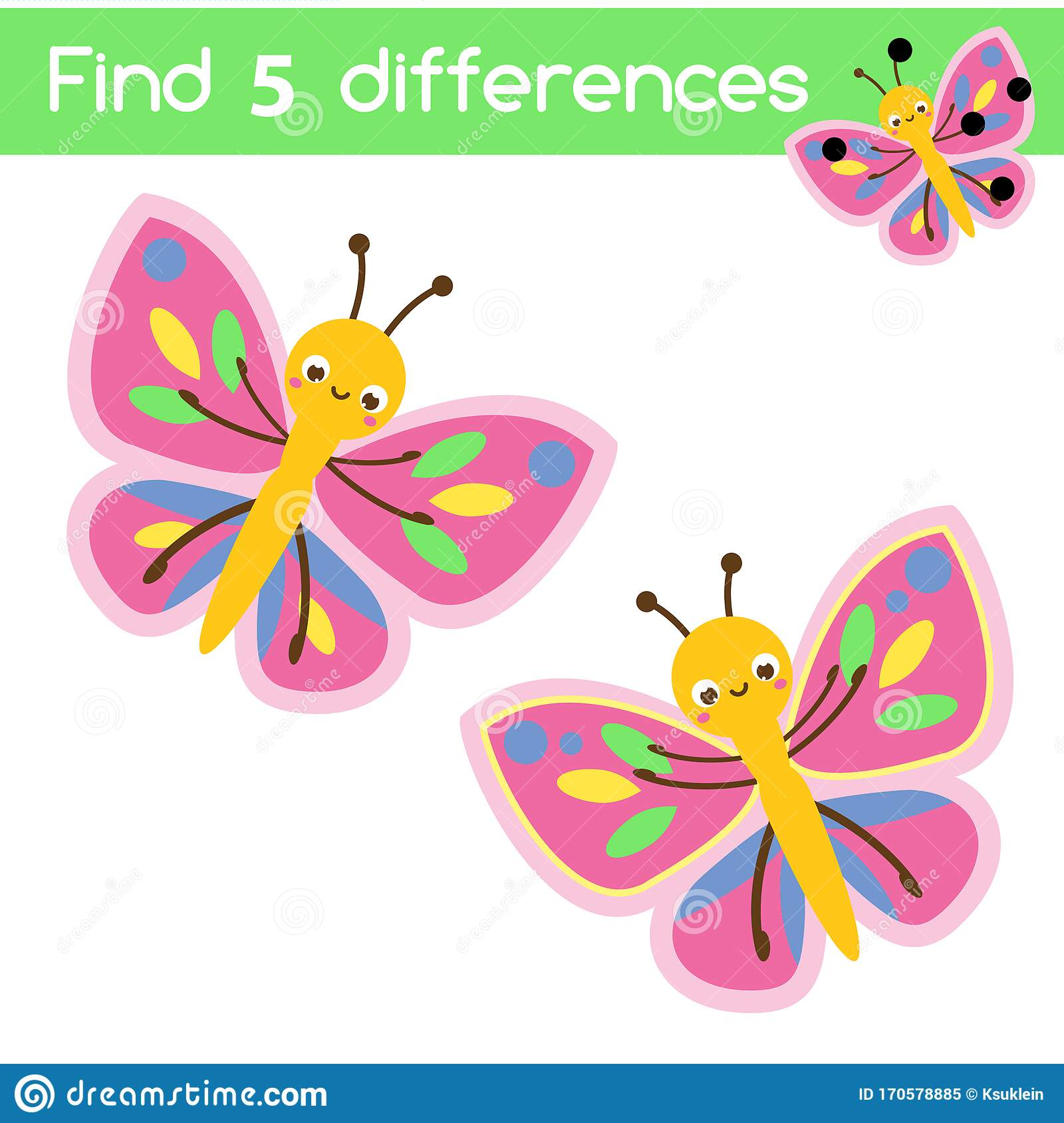 Cartoon Butterfly Find The Differences Educational