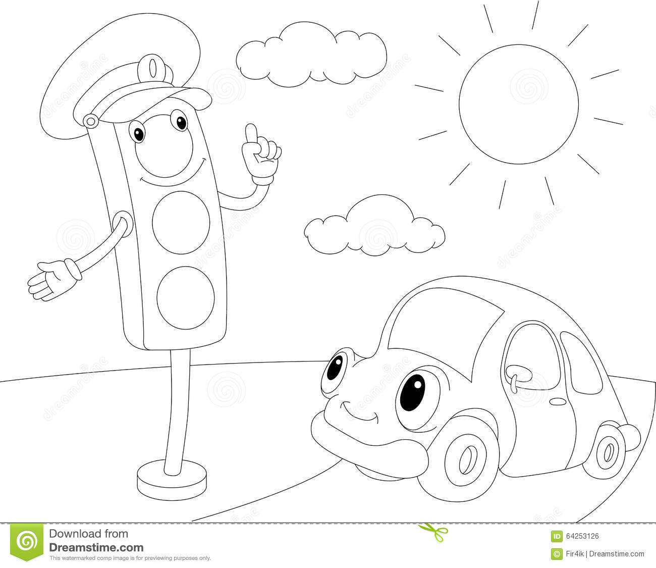 Cartoon Car And Traffic Lights. Coloring Book For Kids