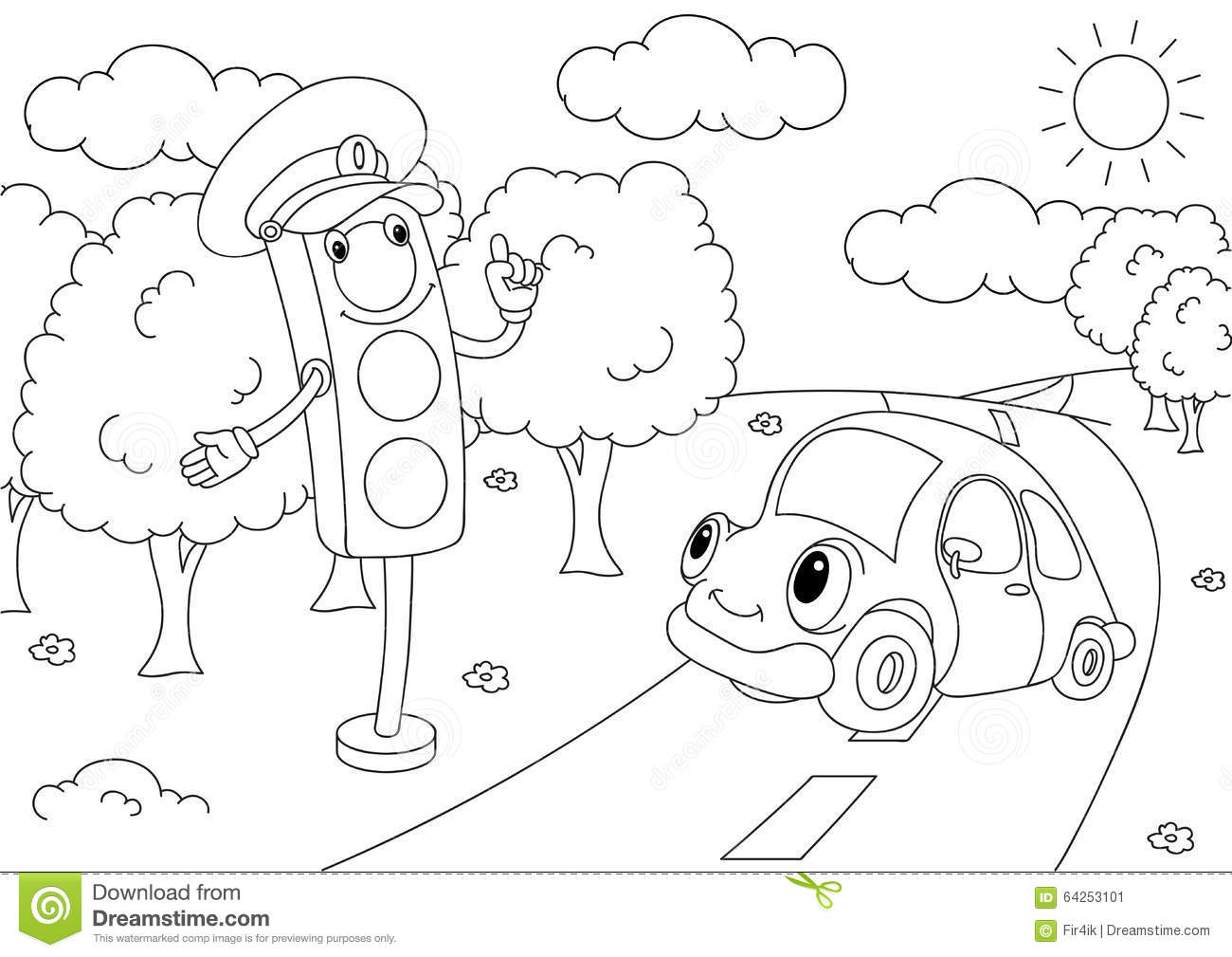 Cartoon Car With Traffic Lights Stock Vector