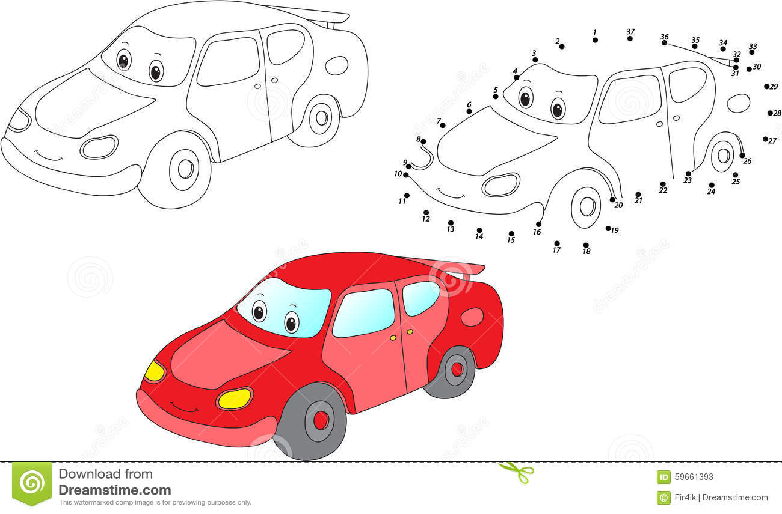 Cartoon Car Vector Illustration Coloring And Dot To Dot