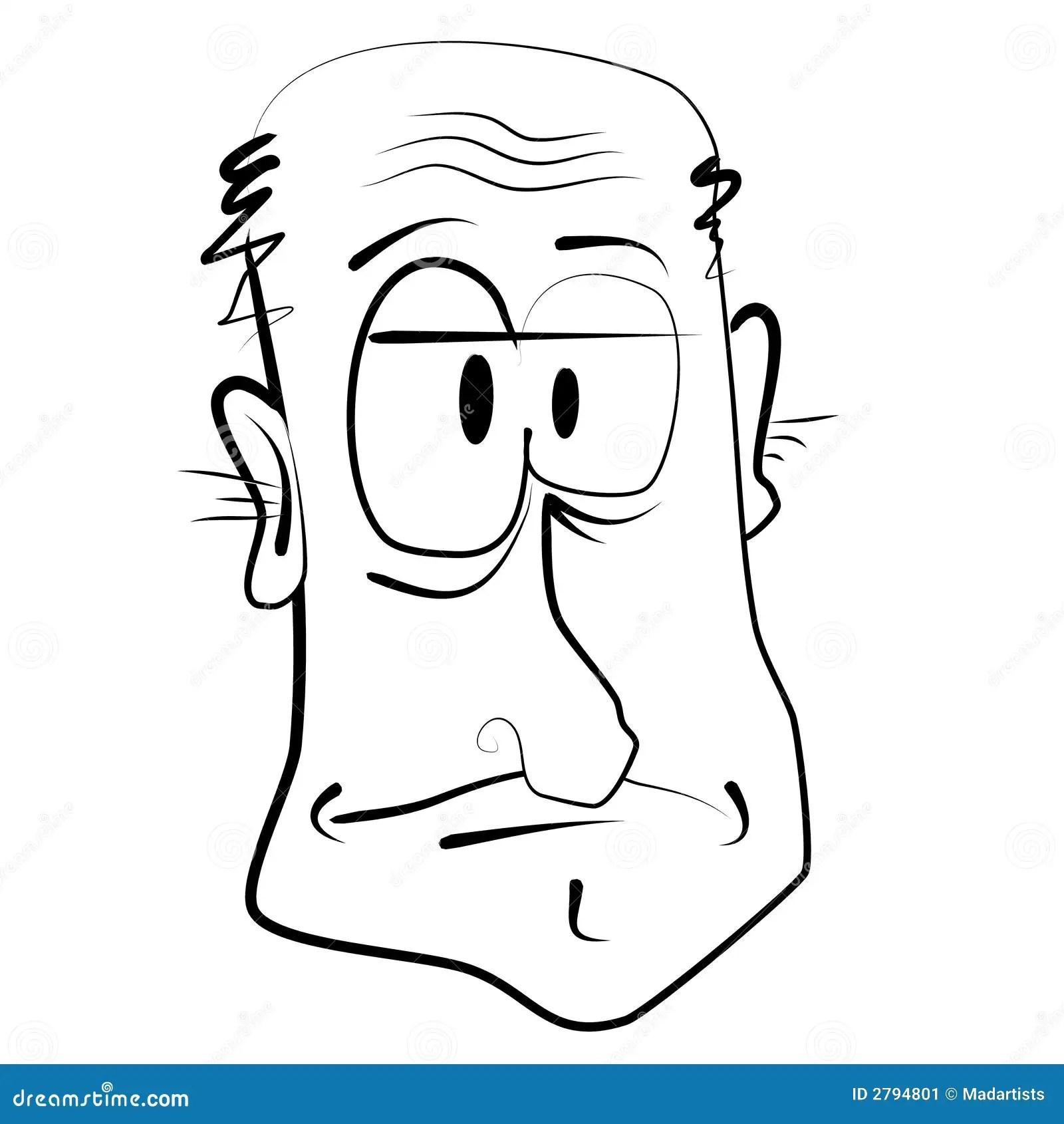 Cartoon Caricature Of Old Man Stock Image