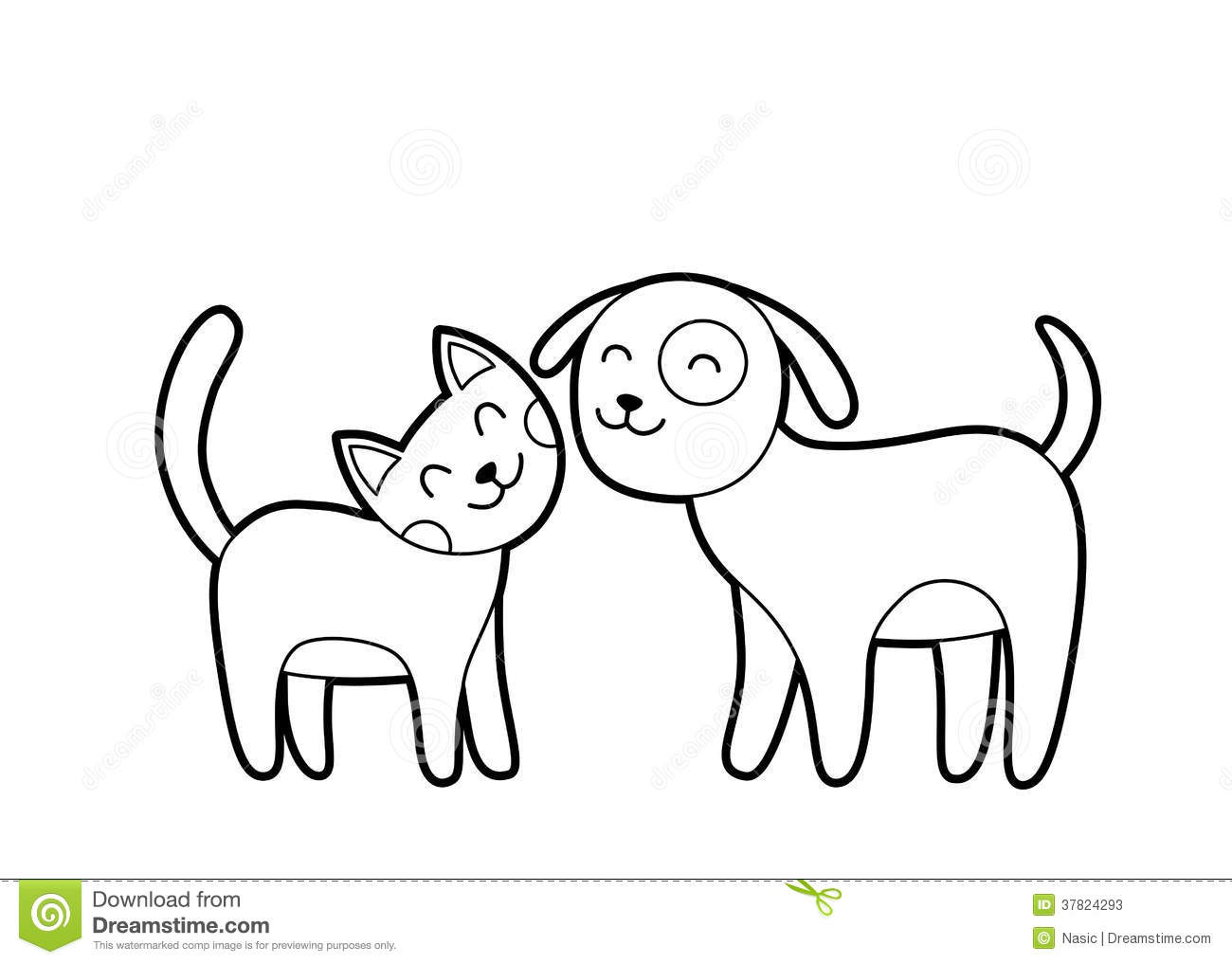 Cartoon Cat And Dog Sketch Stock Vector Image Of Adorable