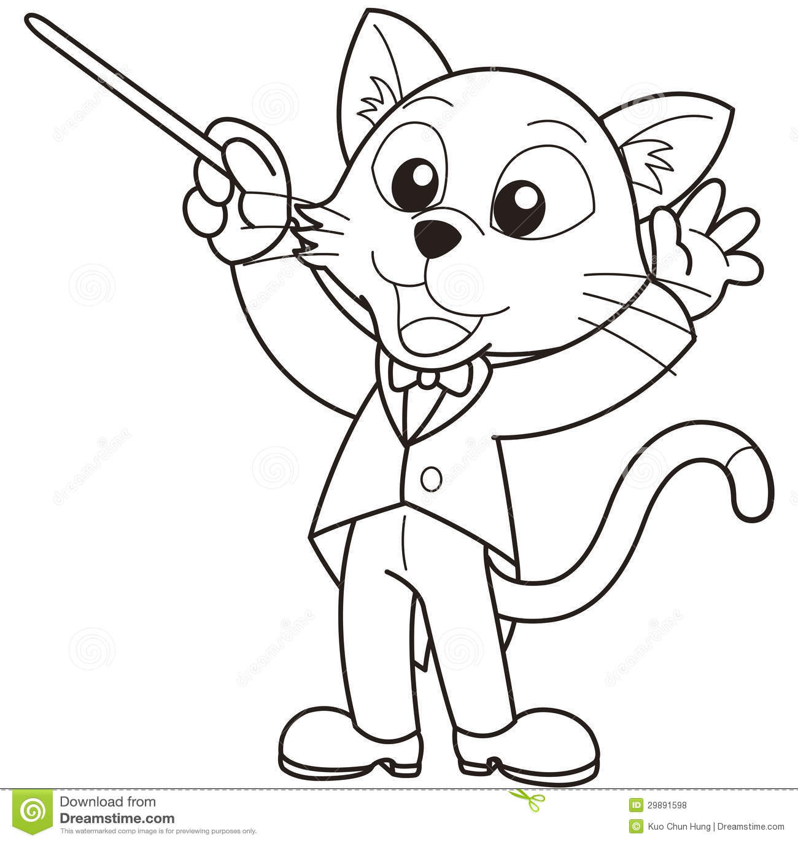 Cartoon Cat Music Conductor Royalty Free Stock Photos