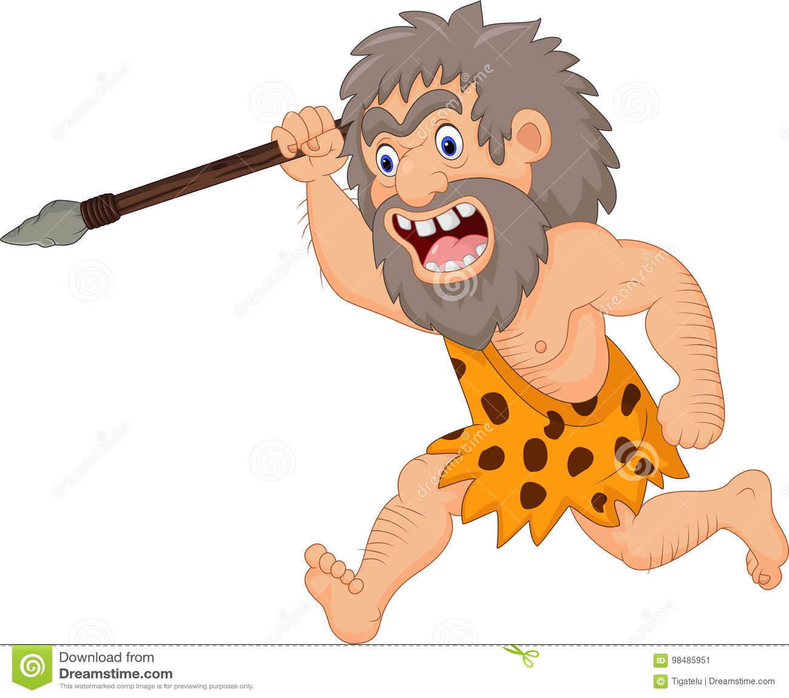 cartoon caveman hunting with